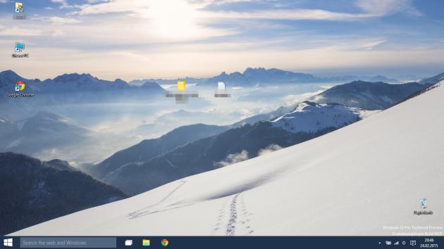 Der Desktop nach der Anmeldung. Da ist noch viel Platz!